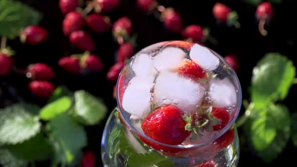 Ice Cubes Falling into Berry Drink.