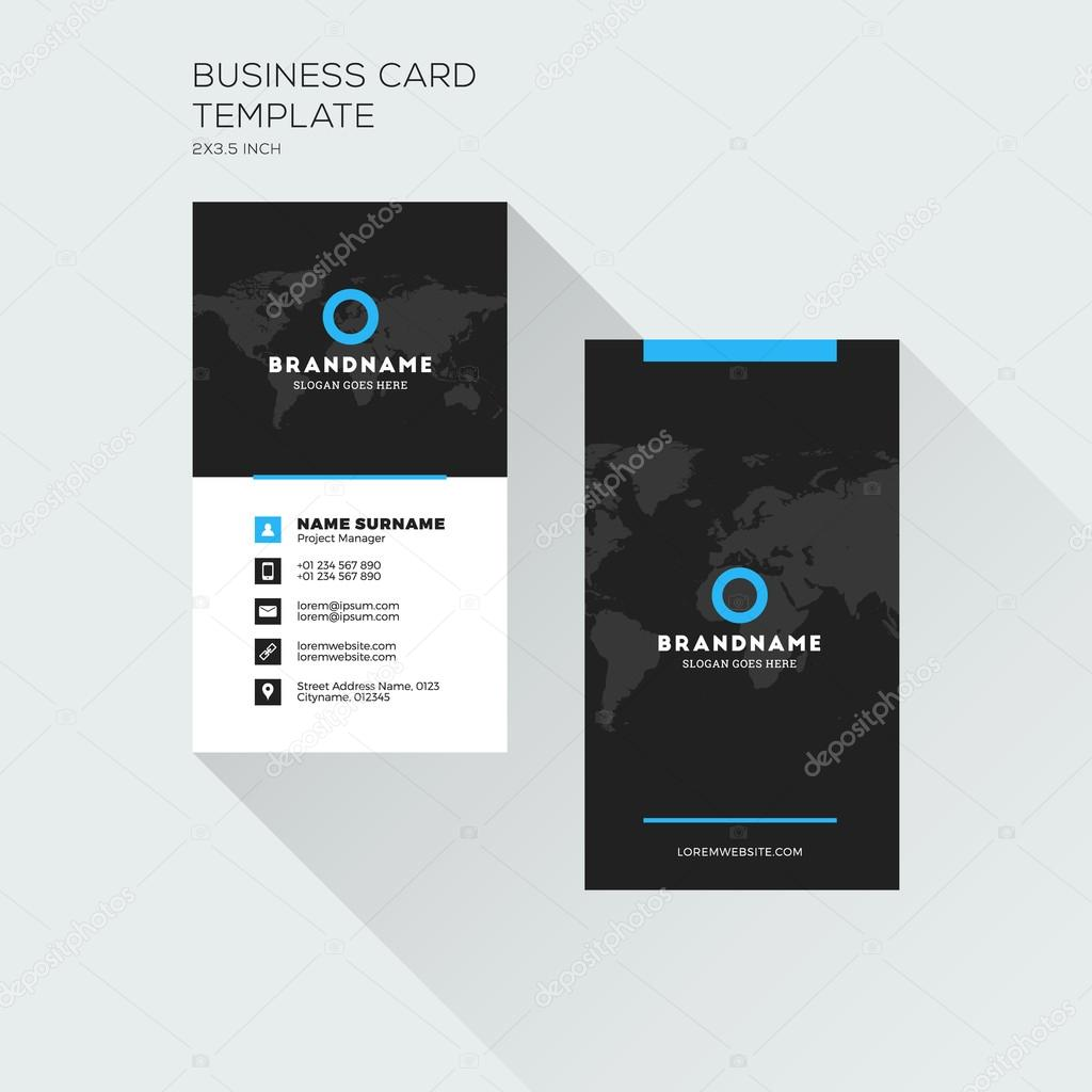 Vertical business card print template personal visiting card with vertical business card print template personal visiting card with company logo black and blue flashek Gallery