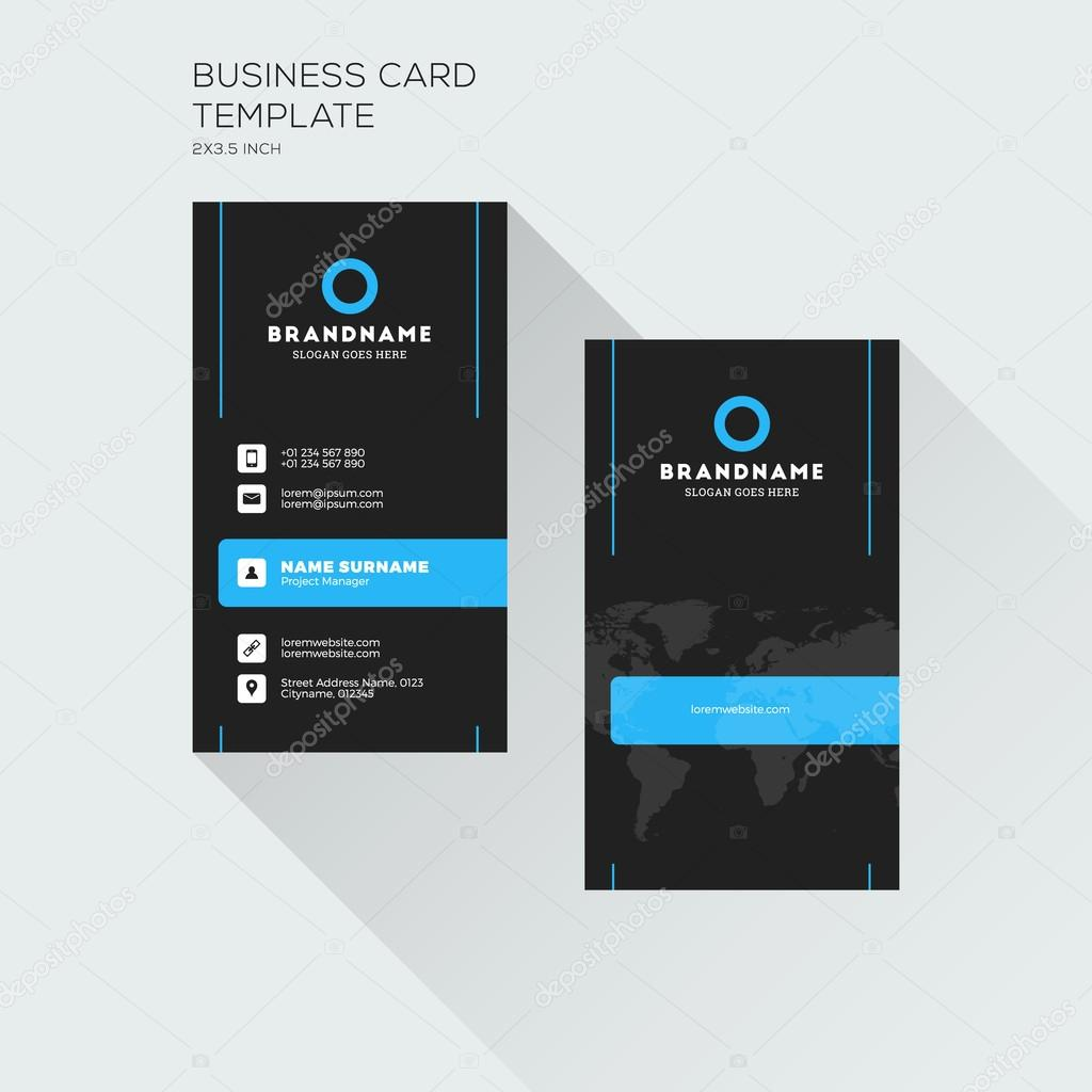 Vertical business card print template personal visiting card with vertical business card print template personal visiting card with company logo black and blue cheaphphosting Choice Image