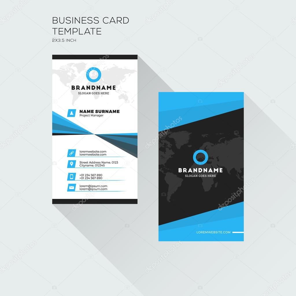 Vertical business card print template personal visiting card with vertical business card print template personal visiting card with company logo black and blue colors clean flat design vector illustration vetor de reheart Image collections