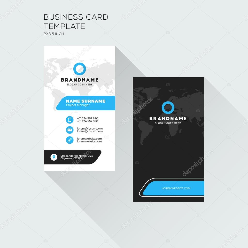 Vertical business card print template personal visiting card with vertical business card print template personal visiting card with company logo black and blue colors clean flat design vector illustration vetor por reheart Image collections