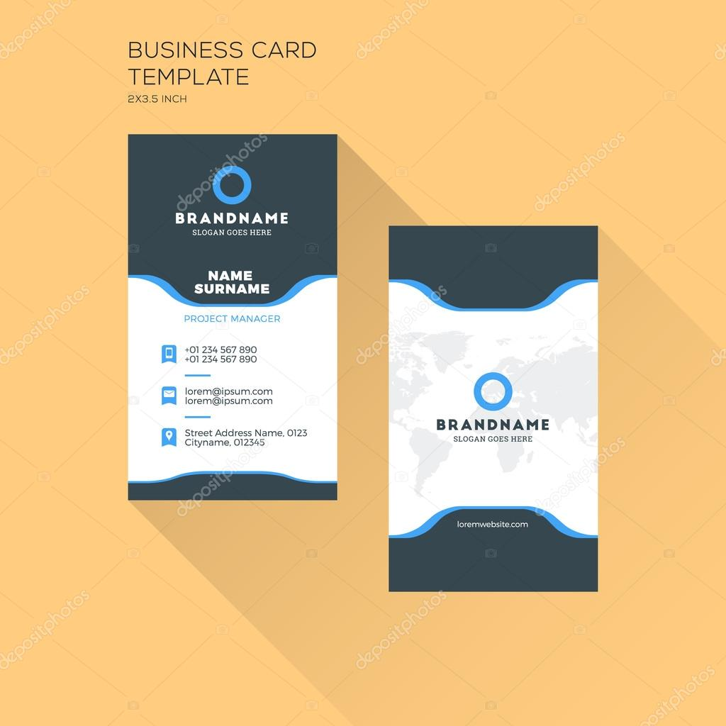 Vertical business card print template personal business for Photo business card template