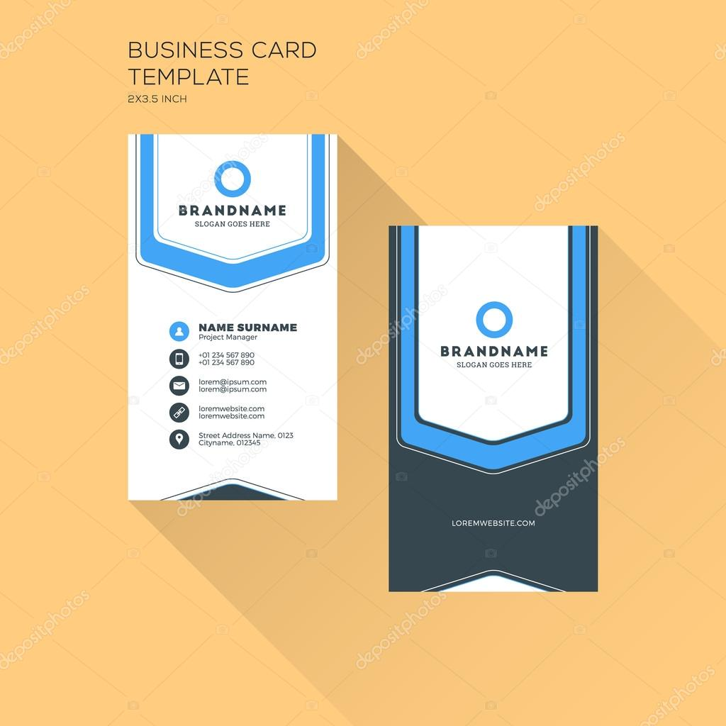Vertical business card print template personal business card with vertical business card print template personal business card with company logo black and blue wajeb Gallery