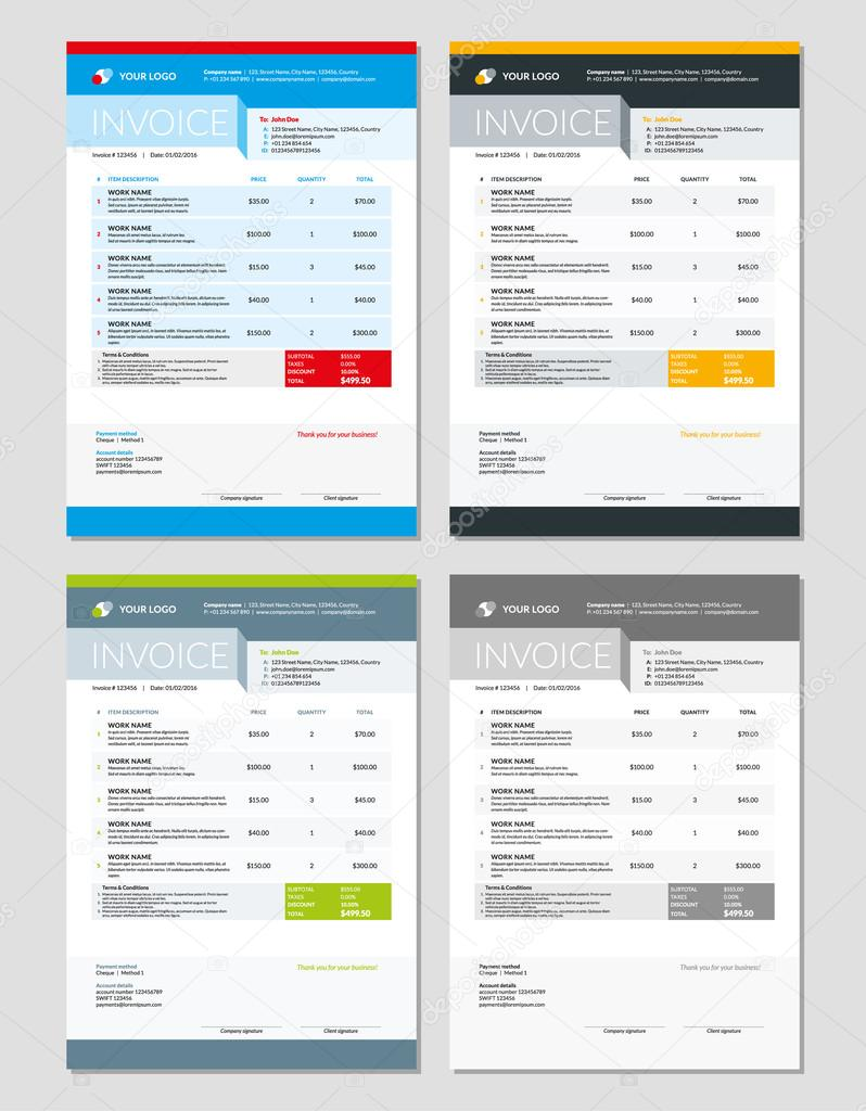 Set Of Vector Invoice Design Templates Stationery Design Vector