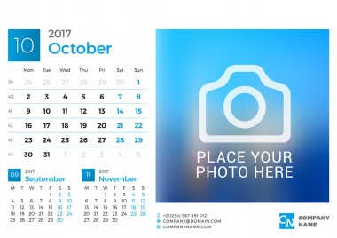 Desk Calendar for 2017 Year. Vector Design Print Template with Place for Photo. October. Week Starts Monday. 3 Months on Page