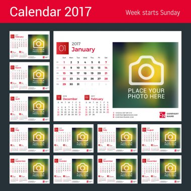 Desk Calendar for 2017 Year. Vector Design Print Template with Place for Photo. Set of 12 Months. Week Starts Sunday. 3 Months on Page