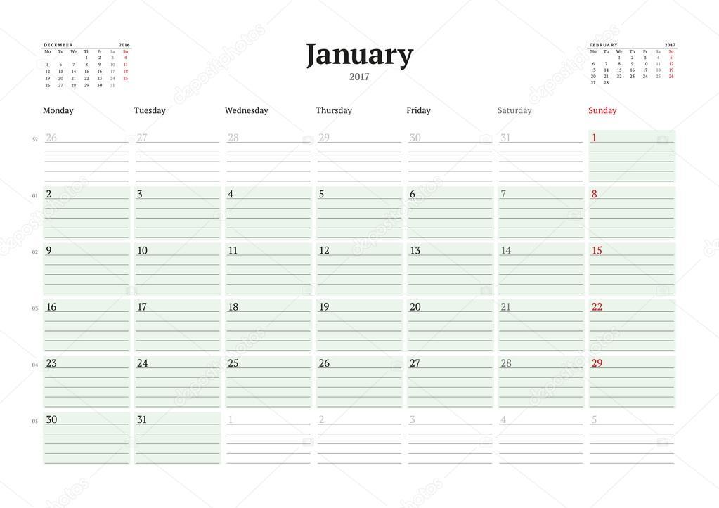 Kalendervorlage für 2017 Jahr. Januar. Business Planner 2017 Vorlage ...