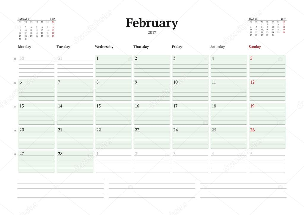 2017 年のカレンダー テンプレートです 2 月 ビジネス プランナー 2017