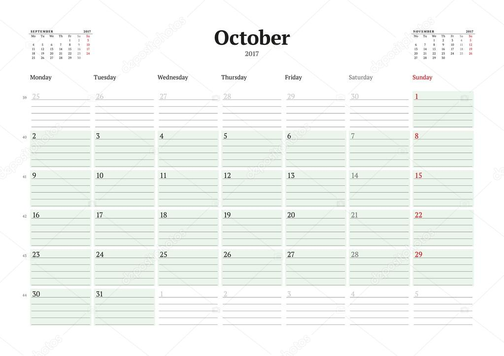 Calendar Template For 2017 Year October Business Planner 2017