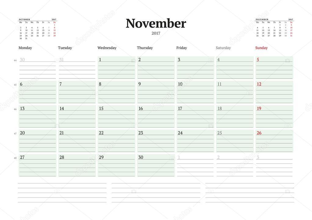 calendar template for 2017 year november business planner 2017