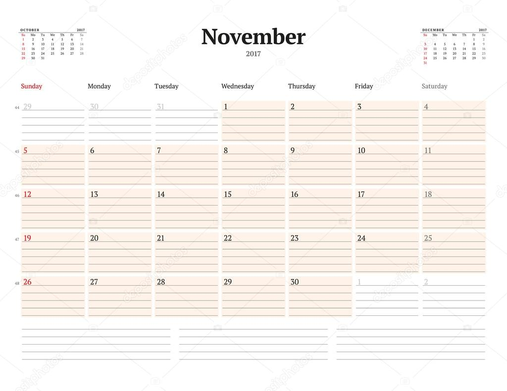calendar template for 2017 year november business planner template