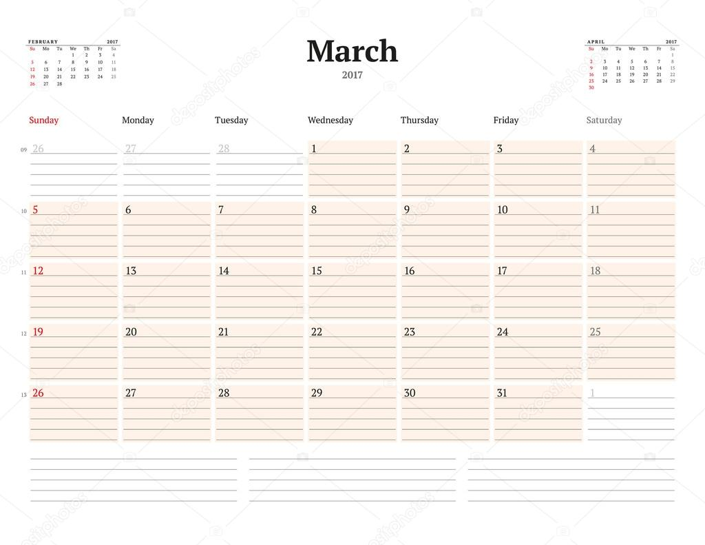 calendar template for 2017 year march business planner template