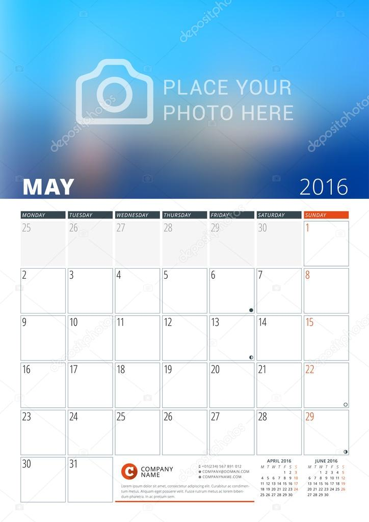 Calendar Template For May 2016 Week Starts Monday Wall