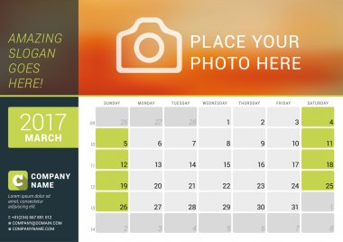 March 2017. Desk Calendar for 2017 Year. Vector Design Print Template with Place for Photo, Logo and Contact Information. Week Starts Sunday. Calendar Grid with Week Numbers and Place for Notes