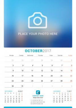 October 2017. Wall Monthly Calendar for 2017 Year. Vector Design Print Template with Place for Photo. Week Starts Monday. 3 Months on Page