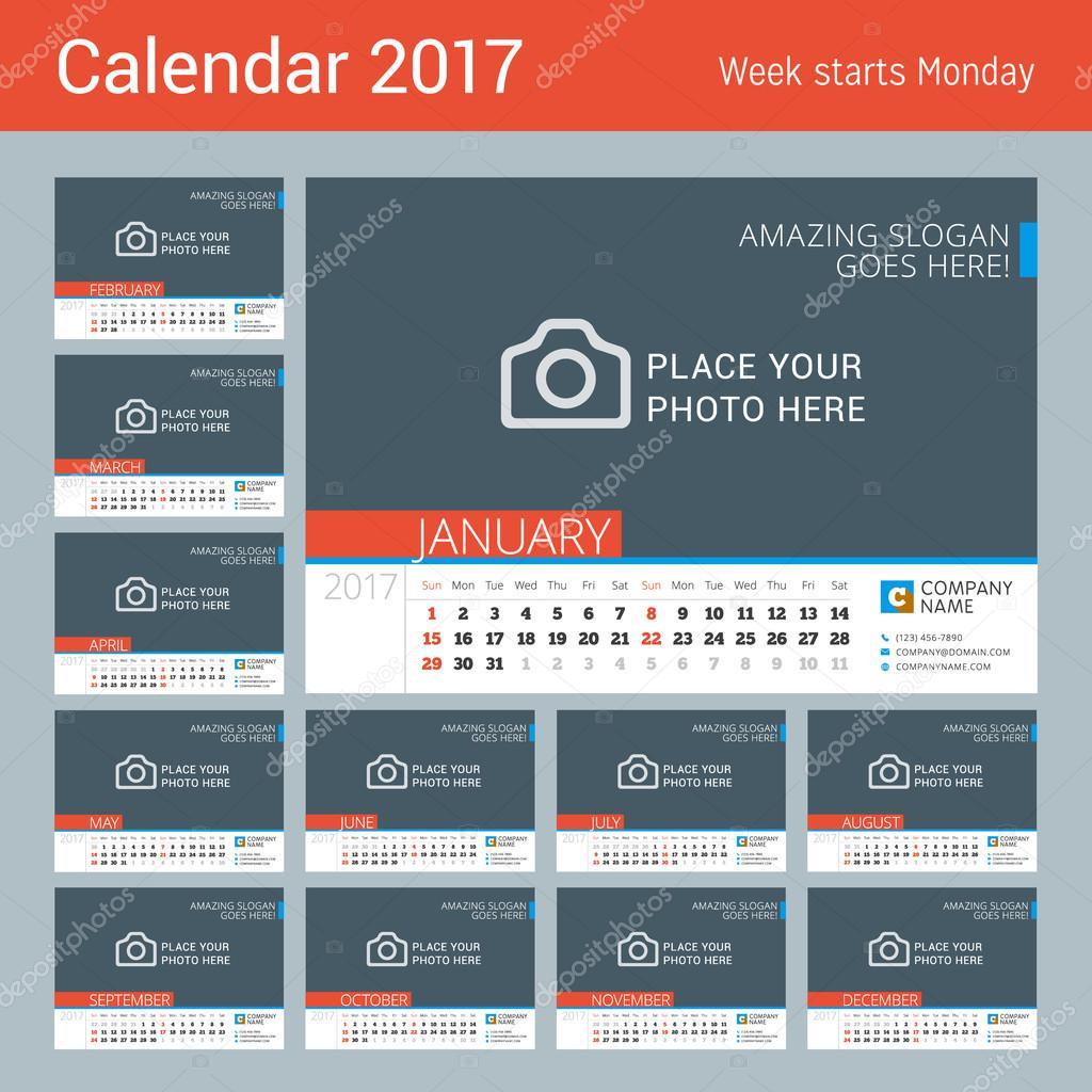 Шаблон перекидного календаря на 2017 год скачать