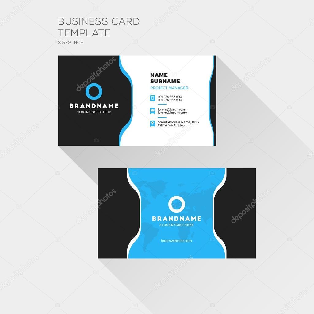 Corporate business card print template personal visiting card with corporate business card print template personal visiting card with company logo clean flat design fbccfo Choice Image