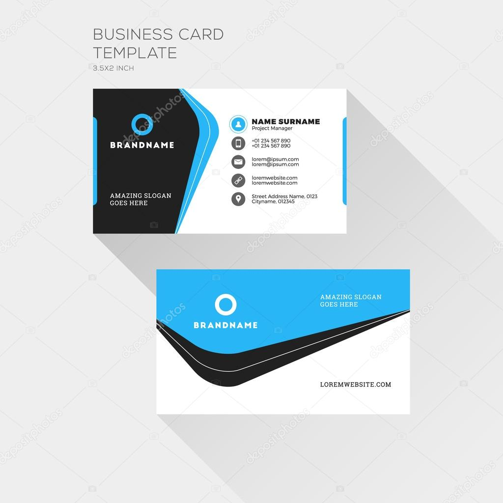 Corporate business card print template personal visiting card with corporate business card print template personal visiting card with company logo clean flat design cheaphphosting Image collections