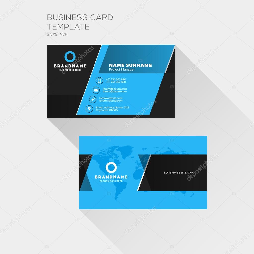 Corporate business card print template personal visiting card with corporate business card print template personal visiting card with company logo clean flat design wajeb Images