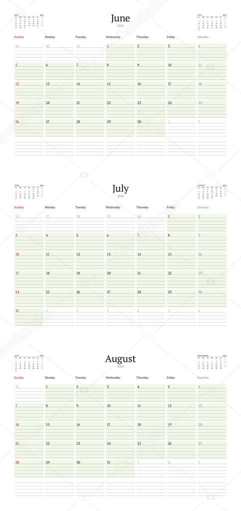 Conjunto de plantillas de calendario para junio, julio, agosto de ...