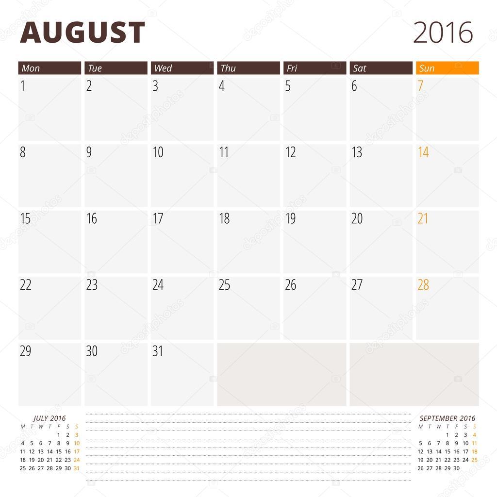 2016 年 8 月のカレンダー テンプレートです月曜始まり