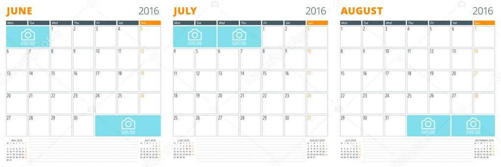 Set Of Calendar Templates For June July August 2016 Week Starts