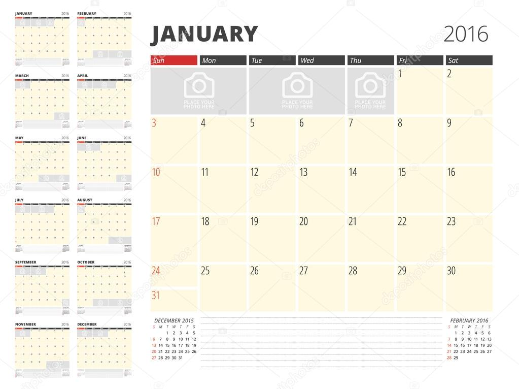 calendar planner template for 2016 year vector design print