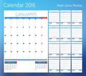 Kalendář na rok 2016. Plánovač šablona. Vektorový tisk šablony návrhu. Týden začíná v pondělí. Sada 12 stránek kalendáře. Papírnictví design