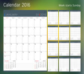 Kalendář na rok 2016. Plánovač šablona. Vektorový tisk šablony návrhu. Začátek týdne neděle. Sada 12 stránek kalendáře. Papírnictví design