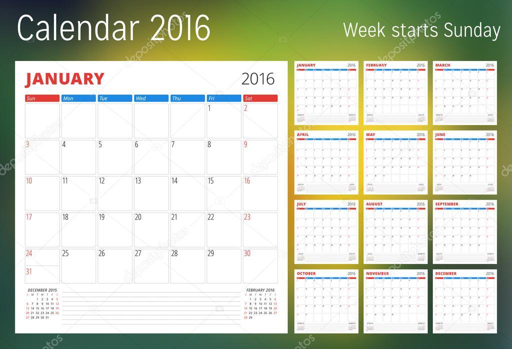 2016 Weekly Calendar Template from st2.depositphotos.com