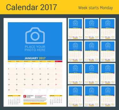 Wall Monthly Calendar for 2017 Year. Vector Design Print Template with Place for Photo. Planner 2017 Template. Week Starts Monday. 3 Months on Page. Planner Template. Stationery Design