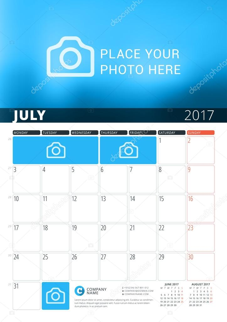 july 2017 wall calendar planner template for 2017 year vector
