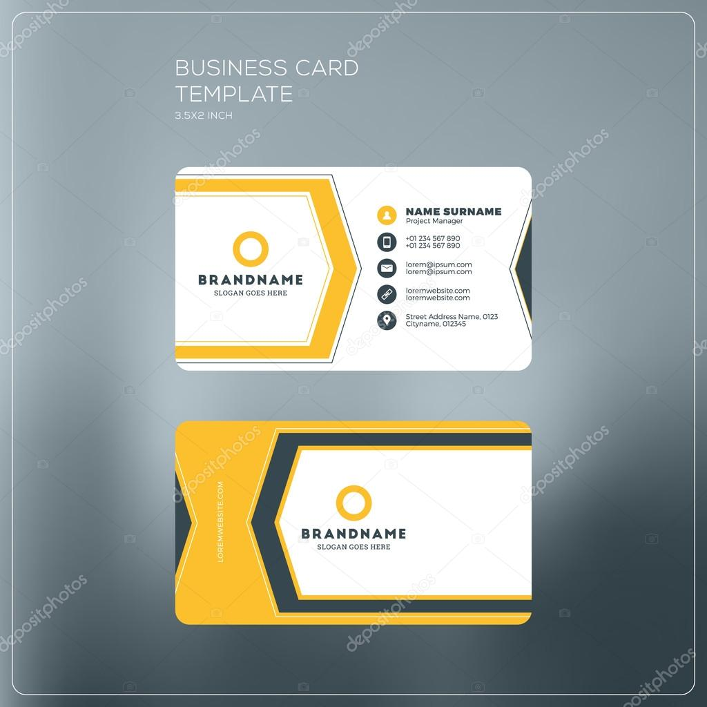 Corporate business card print template personal visiting card with corporate business card print template personal visiting card with company logo black and yellow reheart Images