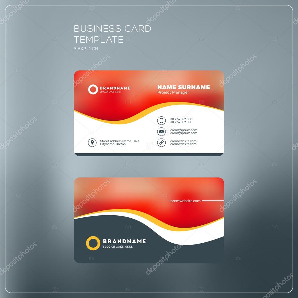 Corporate business card print template personal visiting card with corporate business card print template personal visiting card with company logo black and yellow colors clean flat design vector illustration reheart Image collections