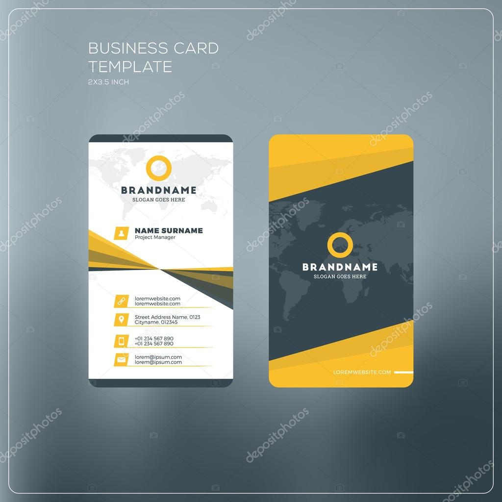 Vertical business card print template personal business card with vertical business card print template personal business card with company logo black and yellow fbccfo Gallery