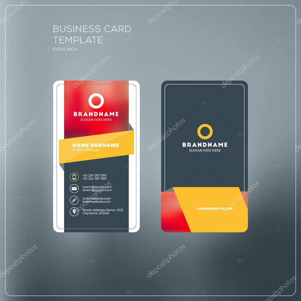 Vertical Business Card Print Template Personal Business Card With - Personal business cards templates
