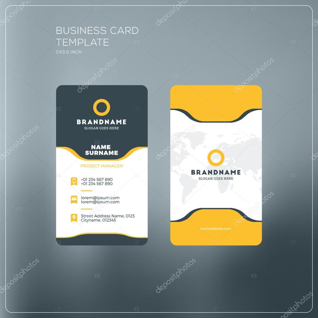 Vertical business card print template personal business card with vertical business card print template personal business card with company logo black and yellow colourmoves Image collections