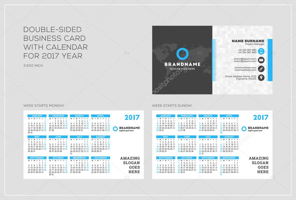 Double sided business card template with calendar for 2017 year double sided business card template with calendar for 2017 year week starts monday fbccfo Image collections