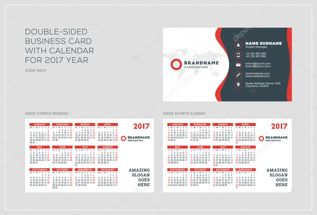 Double sided business card template with calendar for 2017 year double sided business card template with calendar for 2017 year week starts monday colourmoves