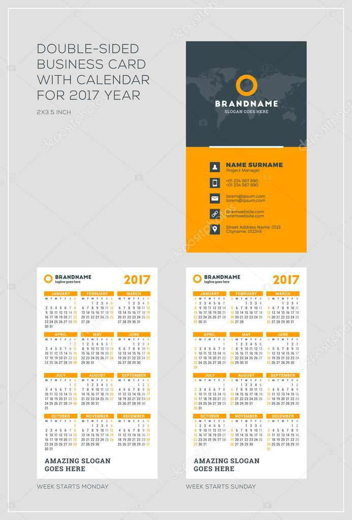 Doppelseitige Vertikale Visitenkarte Vorlage Mit Kalender