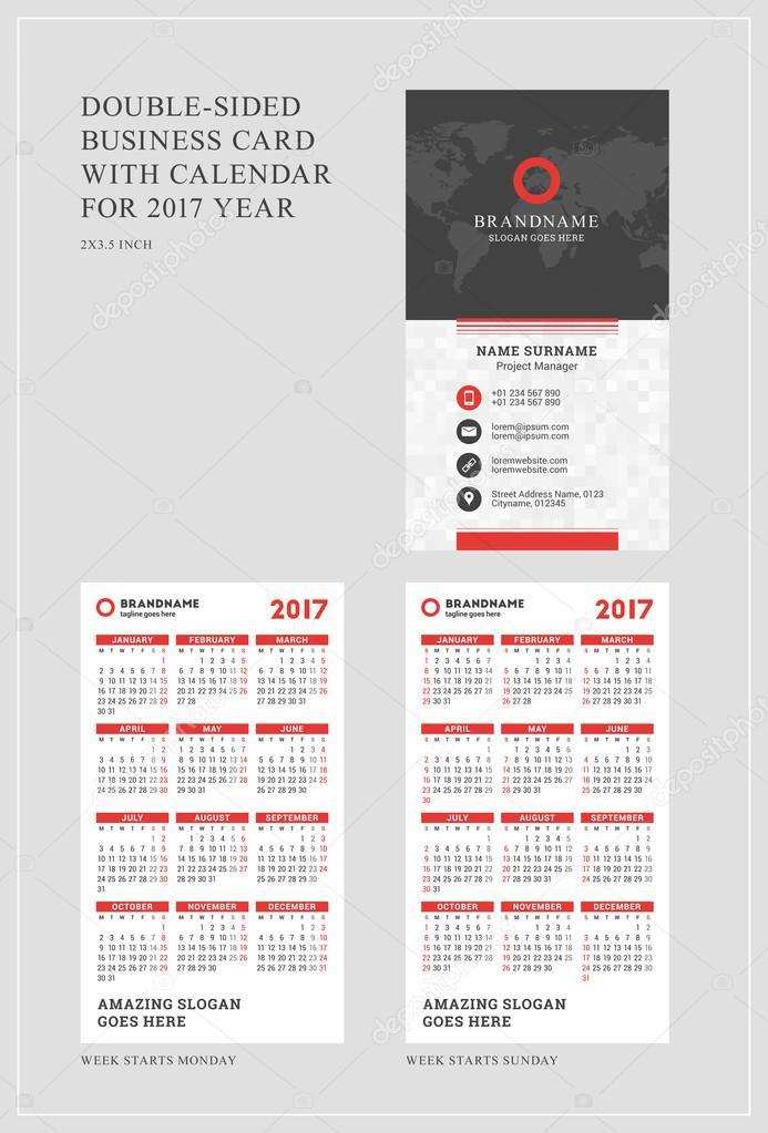 Modele Recto Verso De Carte Visite Verticale Avec Le Calendrier Lannee 2017 La Semaine Commence Lundi Dimanche