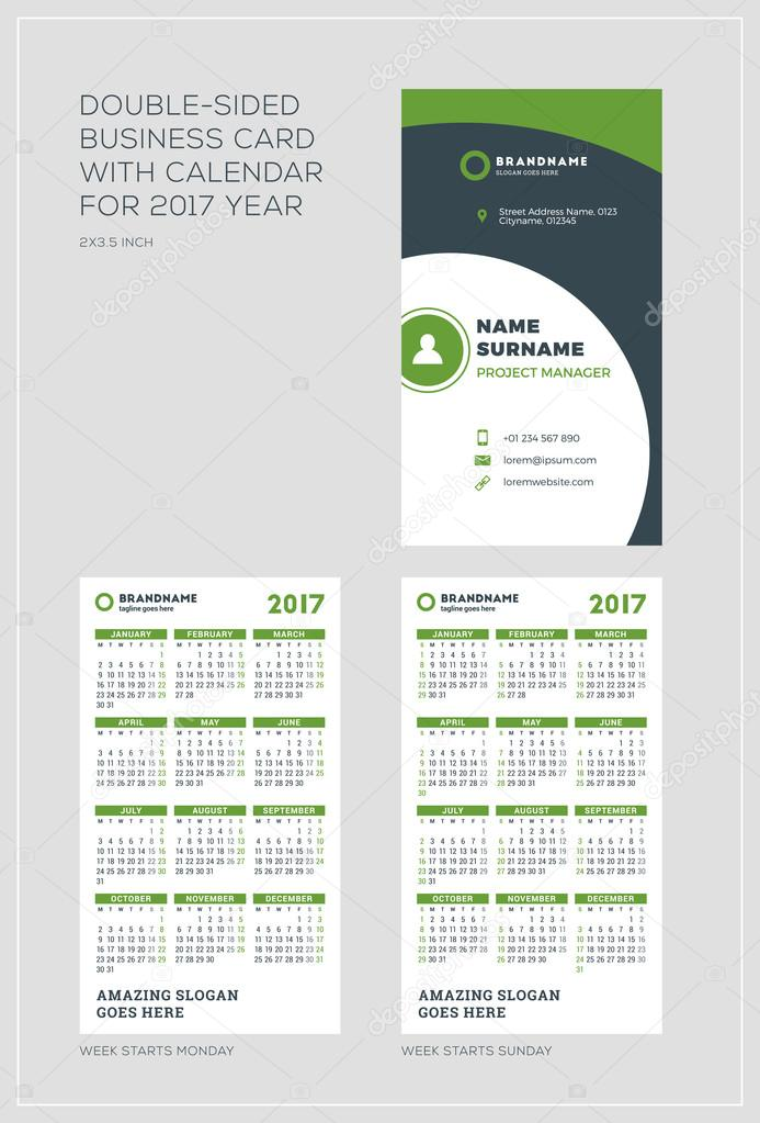 Double sided vertical business card template with calendar for 2017 double sided vertical business card template with calendar for 2017 year week starts monday flashek Choice Image