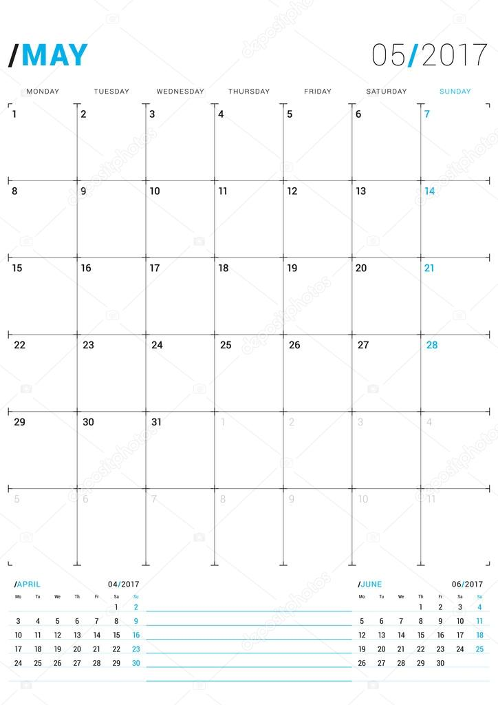 may 2017 vector print template monthly calendar planner for 2017