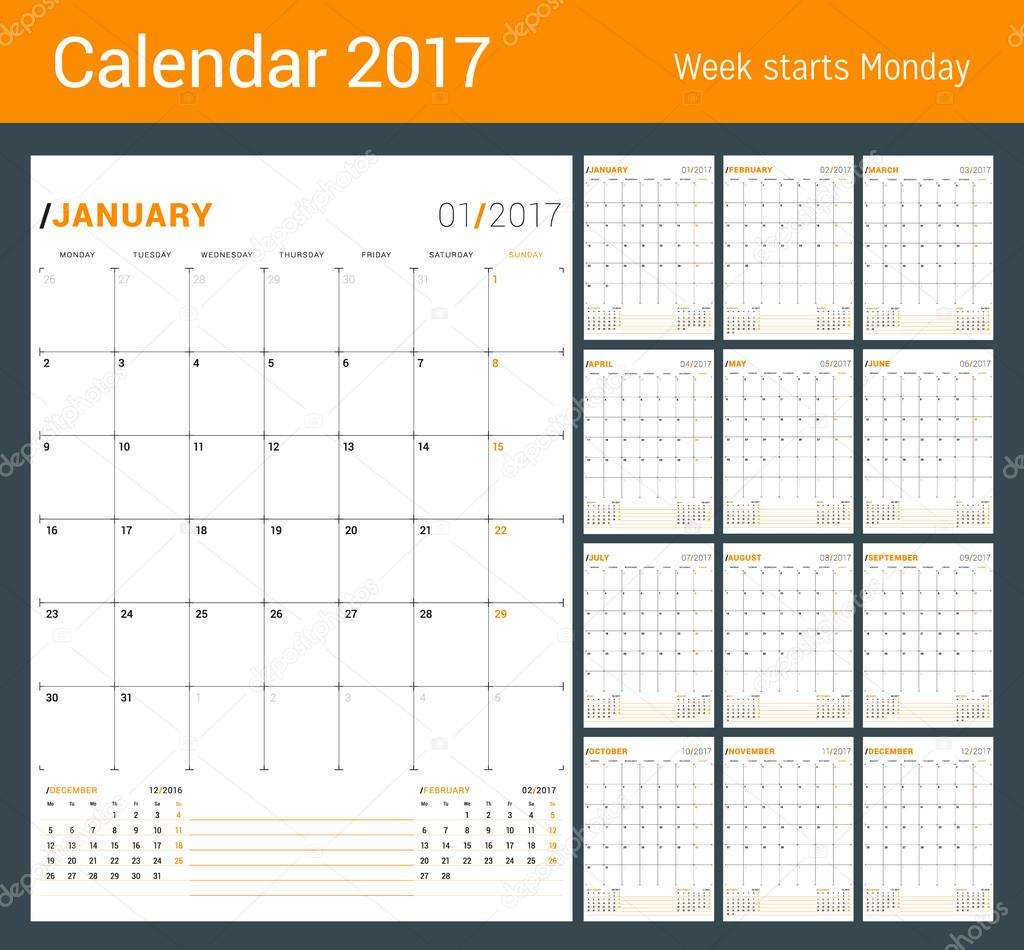 vector print template monthly calendar planner for 2017 year week