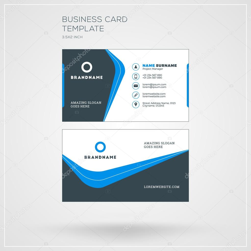 Corporate business card print template personal visiting card with corporate business card print template personal visiting card with company logo clean flat design reheart Image collections