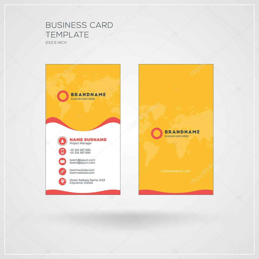 Vertical business card print template personal visiting card with vertical business card print template personal visiting card with company logo yellow and red wajeb Choice Image