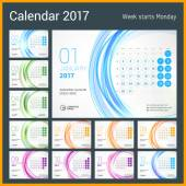 Photo Desk Calendar for 2017 Year. Set of 12 Months. Week Starts Monday. Vector Design Print Template with Abstract Circle Background