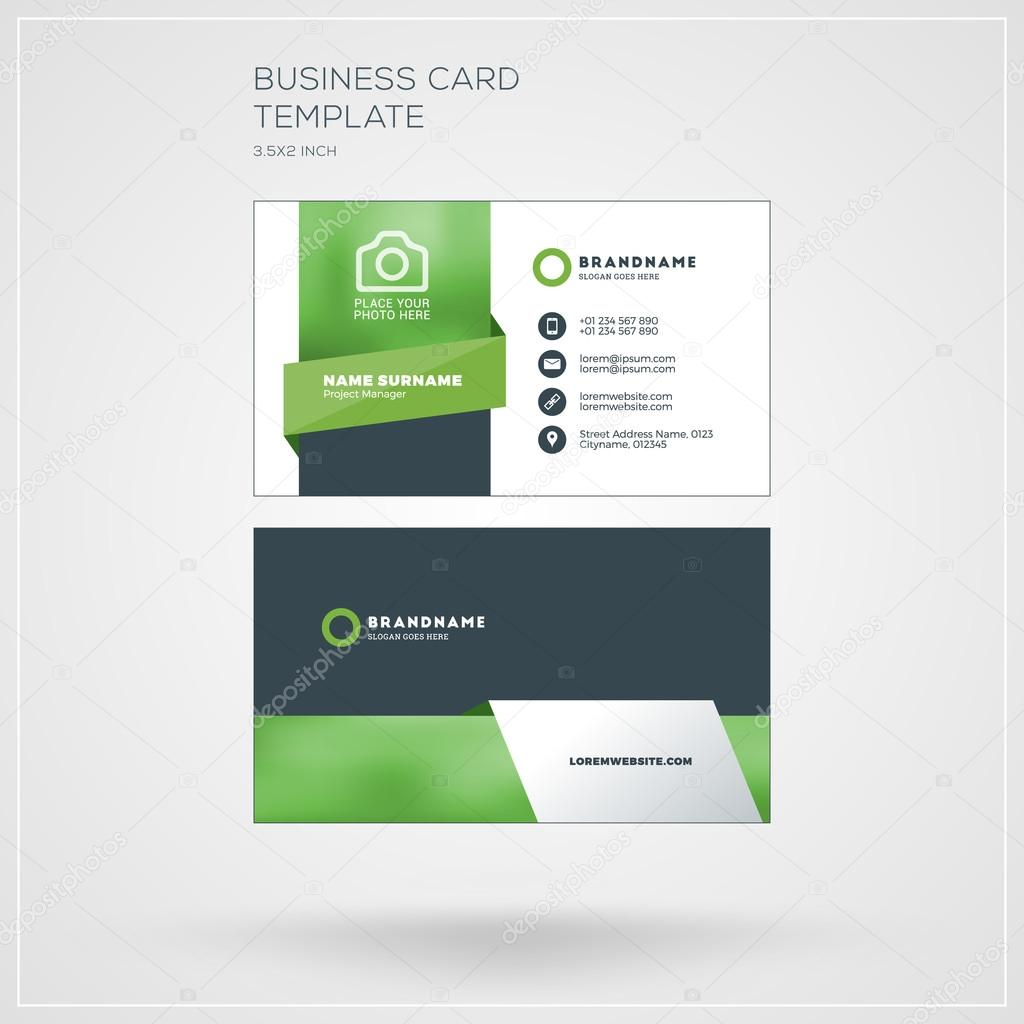 Business card vector template personal visiting card with company business card vector template personal visiting card with company logo clean flat design reheart Images
