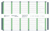 Yearly Calendar Planner Template for 2017 Year. Vector Design Print Template. Week Starts Sunday. Stationery Design