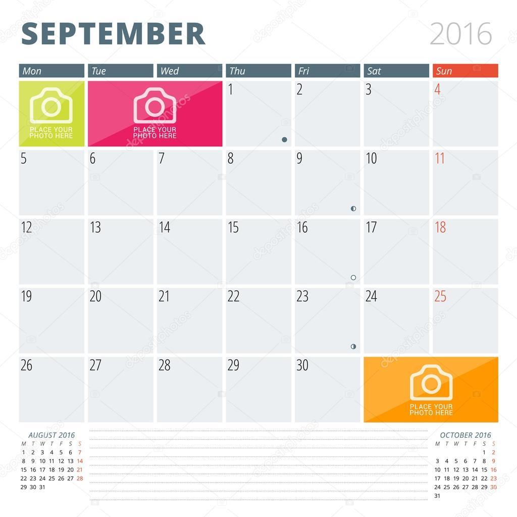 Calendario planificador 2016 diseño plantilla con lugar para fotos y ...